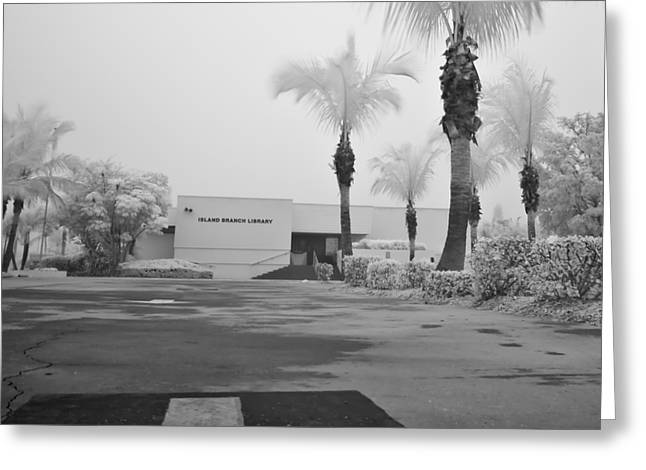 Anna Maria Island Greeting Cards - Anna Maria Island Branch Library In Fog Infrared 50 Greeting Card by Rolf Bertram