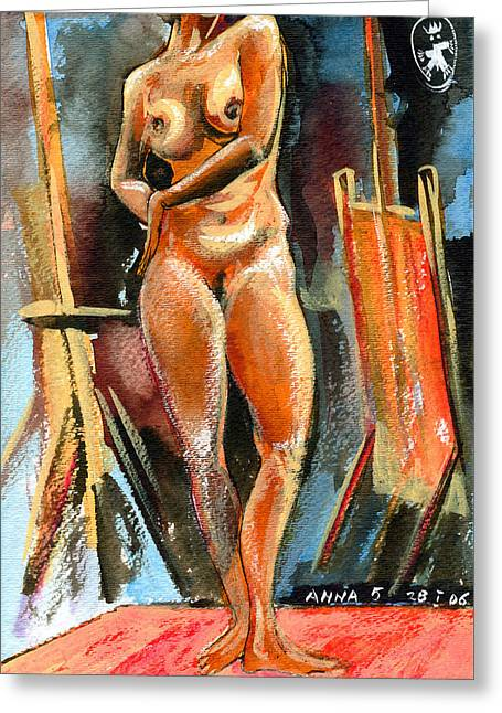 Anna Nude Greeting Card by Ion vincent DAnu