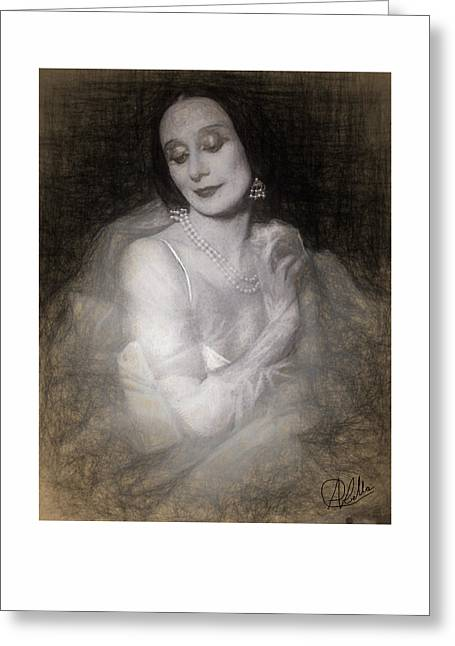 Ballet Dancers Drawings Greeting Cards - Anna Pavlova Greeting Card by Quim Abella
