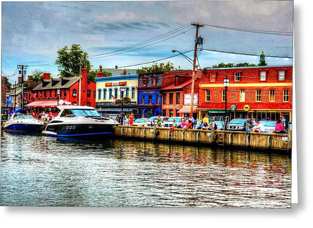 Annapolis Maryland Greeting Cards - Annapolis City Docks Greeting Card by Debbi Granruth