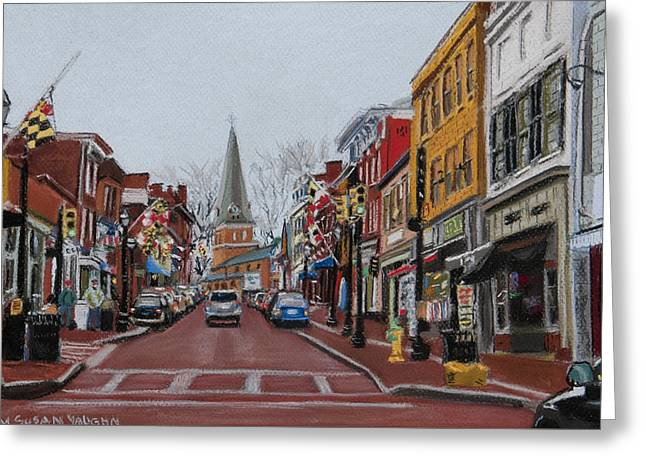 Main Street Pastels Greeting Cards - Annapolis Main Street Greeting Card by Mary Susan Vaughn