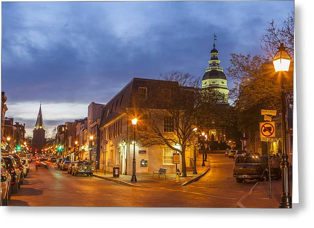 Store Fronts Greeting Cards - Annapolis Main Street Greeting Card by Richard Nowitz