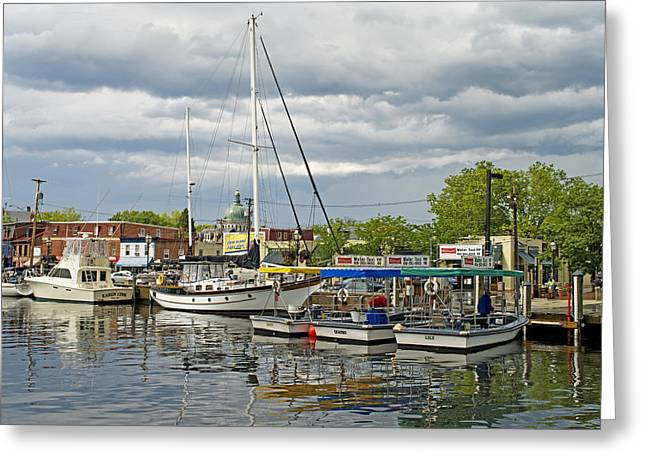 Ego Greeting Cards - Annapolis Maryland City Dock Ego Alley Greeting Card by Brendan Reals