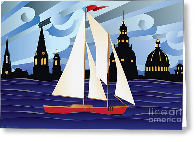 Annapolis Greeting Cards - Annapolis Skyline Red sail boat Greeting Card by Joe Barsin
