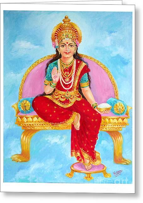 Annapurna Devi Greeting Card by Kalpana Talpade Ranadive