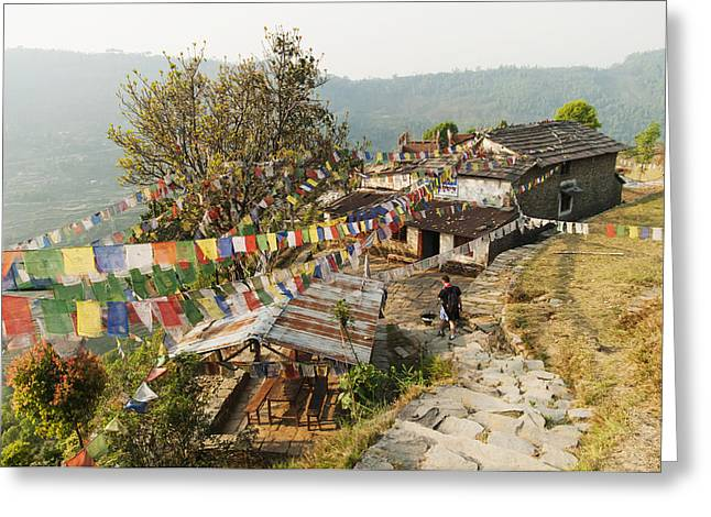 Man Looking Down Greeting Cards - Annapurnas Route In Nepal Greeting Card by Luis Martinez