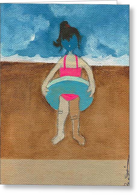 Bandaid Greeting Cards - Annatte at the Beach with Bandaids Greeting Card by Ricky Sencion