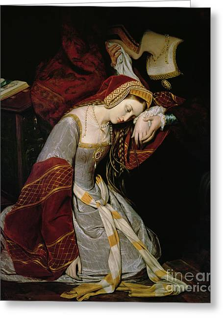 Knelt Paintings Greeting Cards - Anne Boleyn in the Tower Greeting Card by Edouard Cibot
