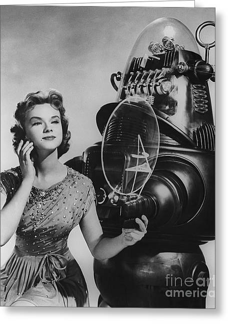 Anne Francis Movie Photo Forbidden Planet With Robby The Robot Greeting Card by R Muirhead Art