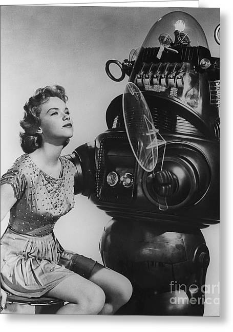 Anne Francis Movie Sexy Photo Forbidden Planet With Robby The Robot Greeting Card by R Muirhead Art
