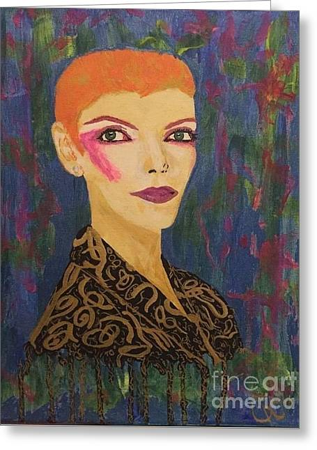 Annie Does Bowie Greeting Card by Caitlin Cherner