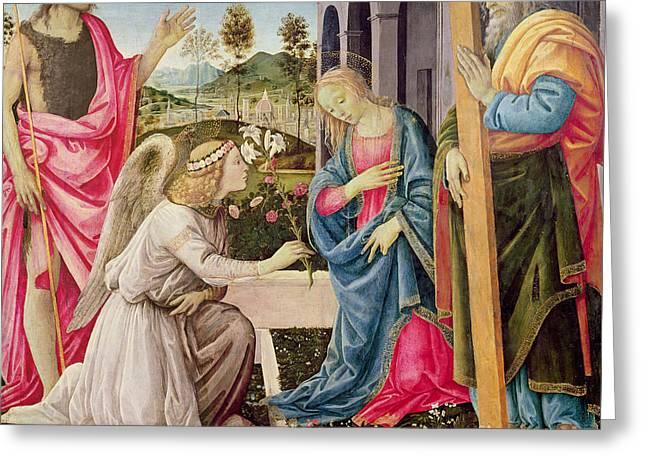 Annunciation With Saint Joseph And Saint John The Baptist Greeting Card by Filippino Lippi