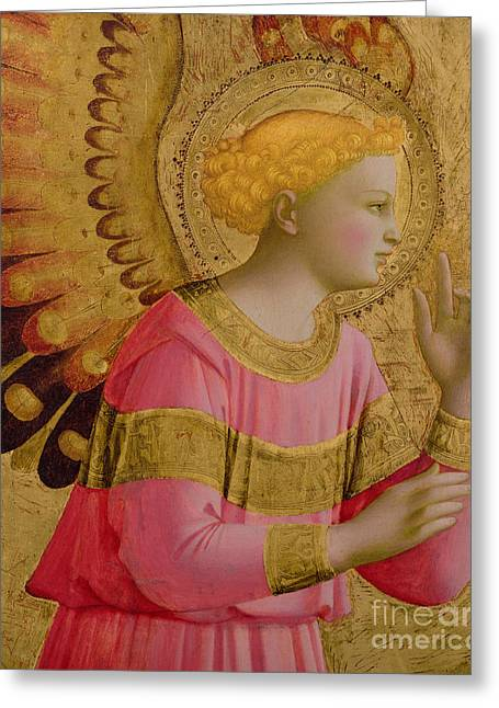 Gold Angel Greeting Cards - Annunciatory Angel Greeting Card by Fra Angelico