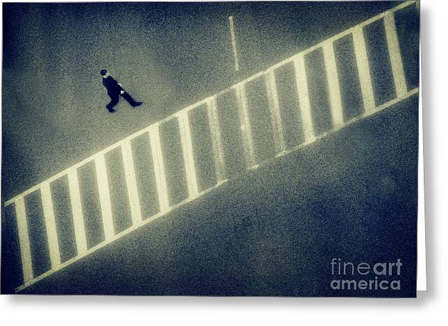 Crosswalk Greeting Cards - Anonymity Greeting Card by Dana DiPasquale