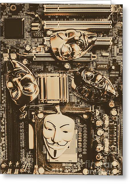 Anonymous Cyber Masks Greeting Card by Jorgo Photography - Wall Art Gallery