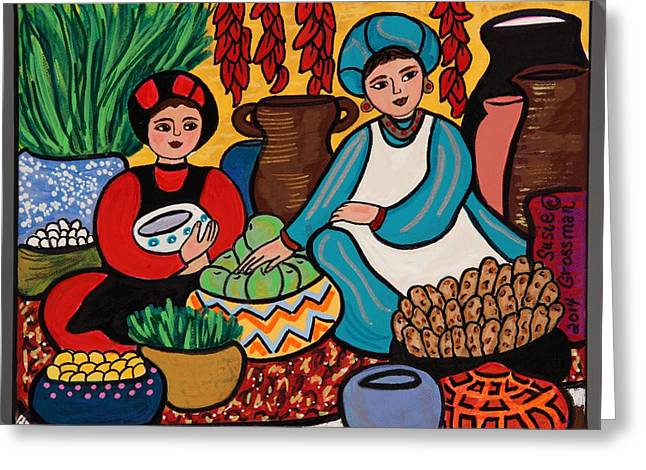 Another Day At The Market Greeting Card by Susie Grossman