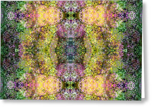 Abstract Digital Tapestries - Textiles Greeting Cards - Another Garden Walk Greeting Card by Suzi Freeman