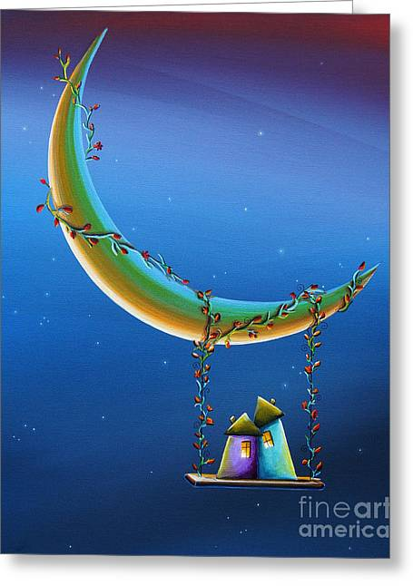 Whimsical Illustration Greeting Cards - Another Moonlight Serenade Greeting Card by Cindy Thornton