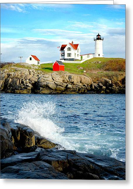 New England Ocean Greeting Cards - Another Nubble Greeting Card by Greg Fortier