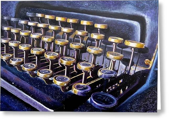 Typewriter Paintings Greeting Cards - Another One Greeting Card by Philly Johnmeyer
