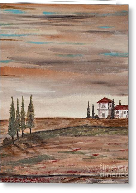 Tuscan Sunset Greeting Cards - Another part of the sunset Greeting Card by Anabelle Acevedo-Marcano
