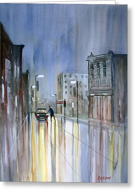 Figures Paintings Greeting Cards - Another Rainy Night Greeting Card by Ryan Radke