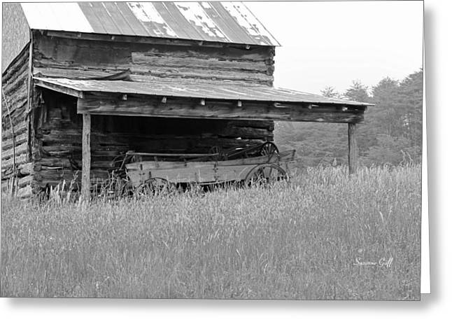 Tin Roof Greeting Cards - Another Time -- black and white Greeting Card by Suzanne Gaff