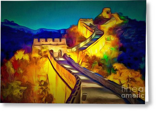 Print On Canvas Greeting Cards - Another Wall In Ambiance Greeting Card by Catherine Lott