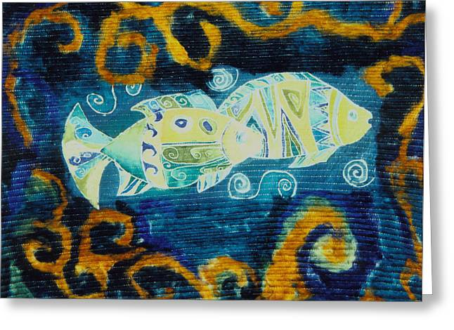 Marine Fish Tapestries - Textiles Greeting Cards - Another world Greeting Card by Aliza Souleyeva-Alexander