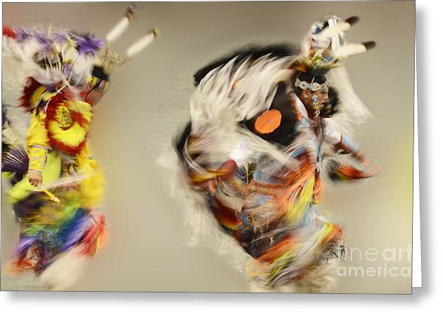 Fancy-dancer Greeting Cards - Pow Wow Another World Another Time Greeting Card by Bob Christopher