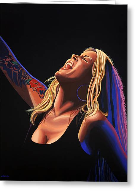 Anouk In Concert Painting Greeting Card by Paul Meijering