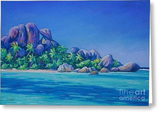 Eagles Pastels Greeting Cards - Anse Source dArgent La Digue Greeting Card by John Clark