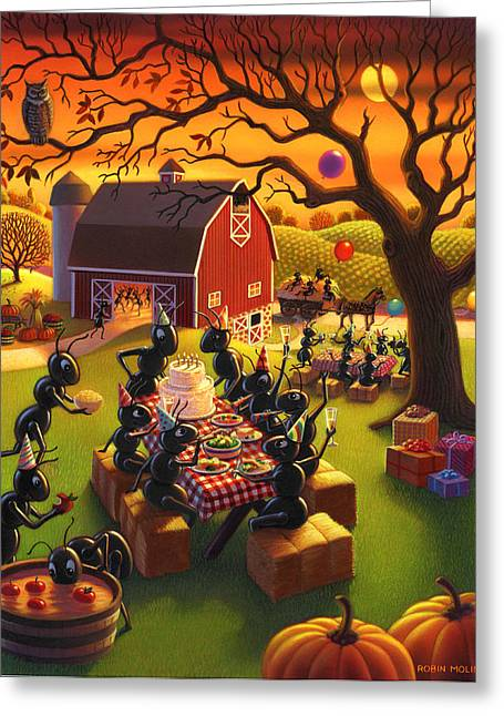 Apple Paintings Greeting Cards - Ant Party Greeting Card by Robin Moline