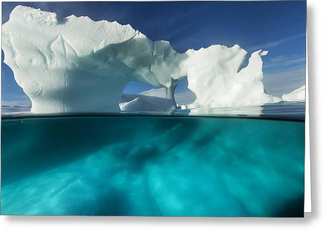 Enterprise Greeting Cards - Antarctica, Underwater View Of Arched Greeting Card by Paul Souders