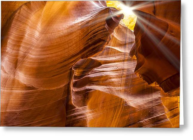 Antelope Canyon Sunrays Greeting Card by Melanie Viola