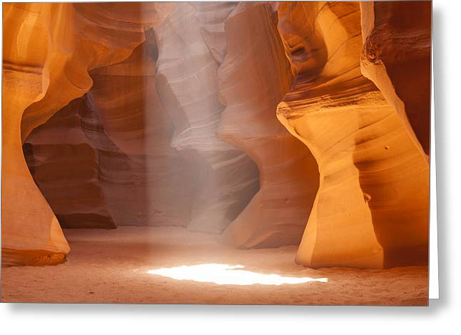 Spectacular Greeting Cards - ANTELOPE CANYON Unique Lightbeam Greeting Card by Melanie Viola