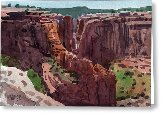 Canyons Paintings Greeting Cards - Antelope House Overlook 2006 Greeting Card by Donald Maier