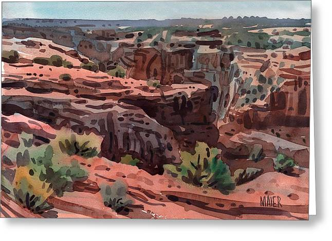 Canyons Paintings Greeting Cards - Antelope House Vista Greeting Card by Donald Maier