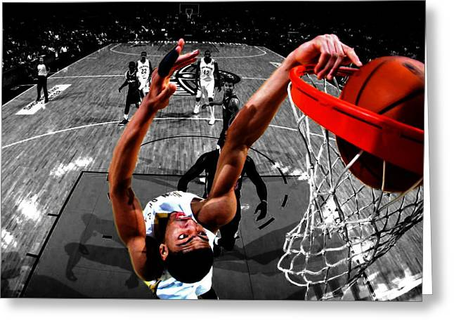 All-star Mixed Media Greeting Cards - Anthony Davis Greeting Card by Brian Reaves