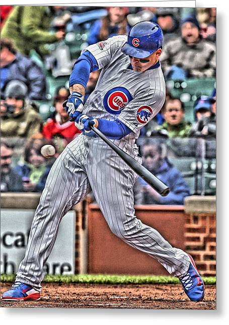 Anthony Rizzo Chicago Cubs Greeting Card by Joe Hamilton