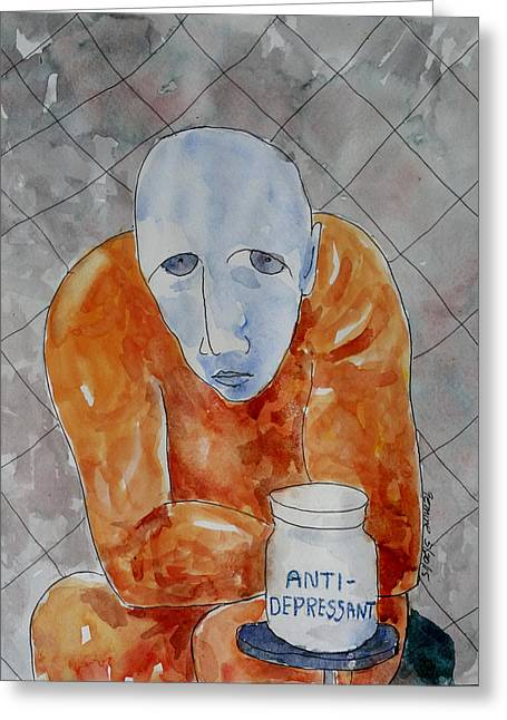 Psychiatry Paintings Greeting Cards - Anti-Depressant Greeting Card by Lucille Femine