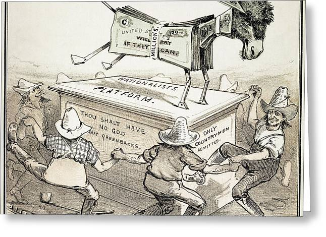 1876 Greeting Cards - Anti-greenback Cartoon Greeting Card by Granger