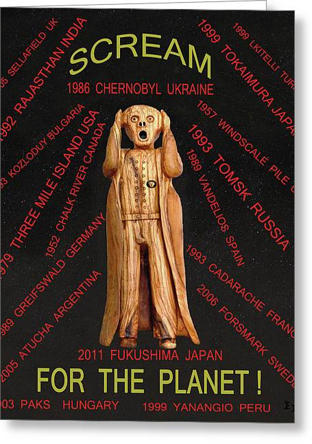 Scream World Tour Mixed Media Greeting Cards - Anti Nuclear Greeting Card by Eric Kempson