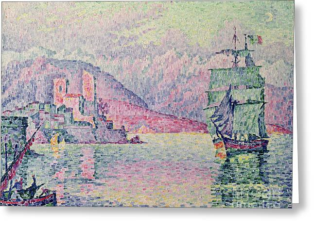 """sailing Ship"" Greeting Cards - Antibes Greeting Card by Paul Signac"