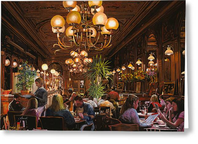 Torino Greeting Cards - Antica Brasserie Greeting Card by Guido Borelli