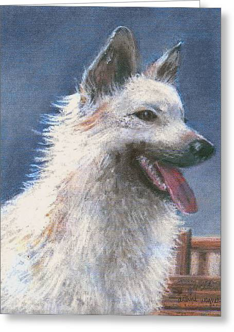 Canines Pastels Greeting Cards - Anticipating Their Return Greeting Card by Arline Wagner