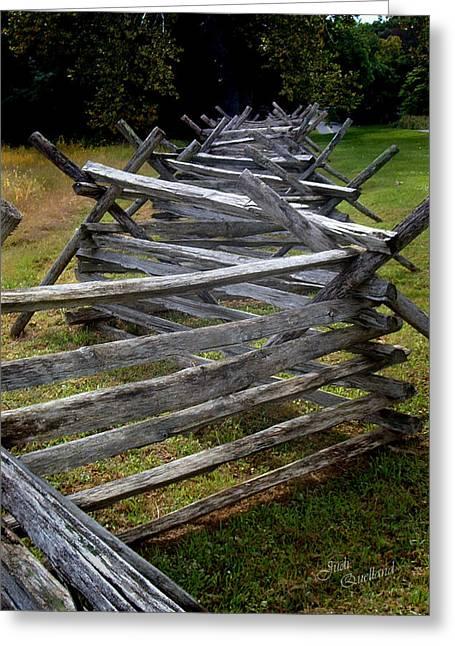 Split Rail Fence Photographs Greeting Cards - Antietam Fenceline Greeting Card by Judi Quelland