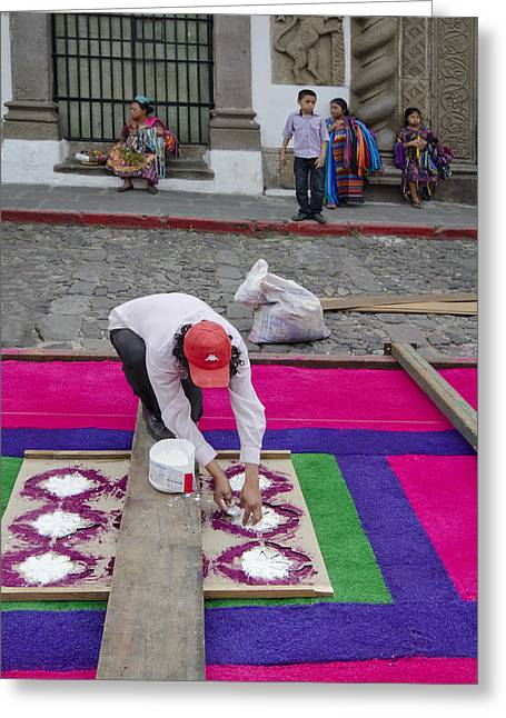 Holy Week Greeting Cards - Antigua Carpet Maker Greeting Card by Michael  Scott