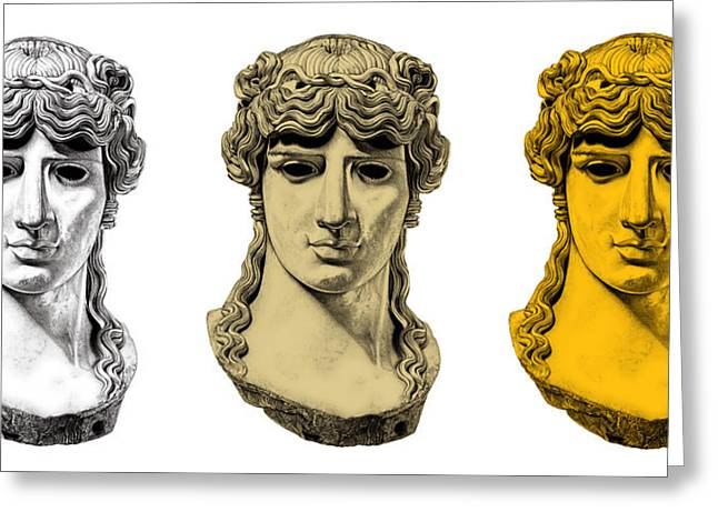 Greek Sculpture Drawings Greeting Cards - Antinous _ V6 Greeting Card by Bruce Algra