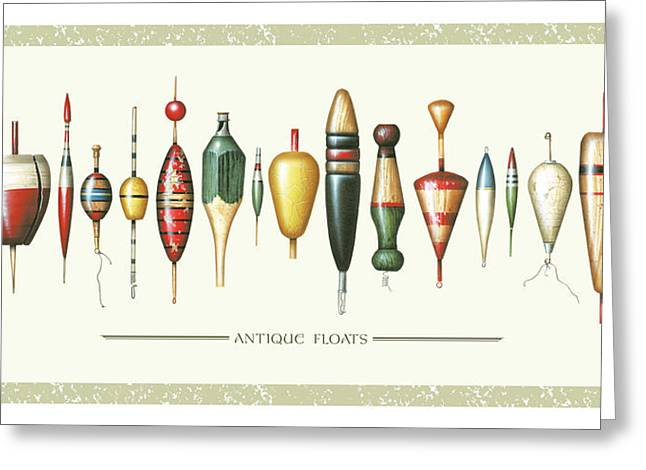 Float Greeting Cards - Antique Bobbers Greeting Card by JQ Licensing